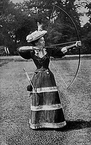 Fotografie der berühmten britischen Bogenschützin Alice Legh,  Lizenz: gemeinfrei